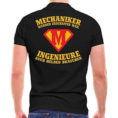 Männer und Herren POLO Shirt MECHANIKER wurden erschaffen (mit Rückendruck) Schwarz