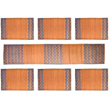 SDS 7 Piece Natural Fibre Table Runner with Table Mat Set - Brown and Blue