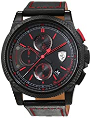 Idea Regalo - Scuderia Ferrari Orologi Herren-Armbanduhr Formula Italia S Analog Quarz Leder 0830273
