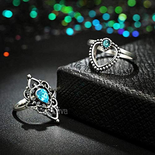 Shining Diva Fashion Set of 13 Boho Midi Finger Crystal Rings for Women and Girls (10067r)