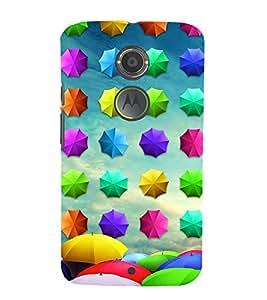 Colourful Umbrellas Pattern 3D Hard Polycarbonate Designer Back Case Cover for Motorola Moto X2 :: Motorola Moto X (2nd Gen) :: Motorola Moto X 2014 :: Motorola Moto X+1