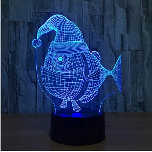 Neuheit Weihnachten Hut Fisch Modell 3D Led Nachtlichter 7 Farbwechsel 3D Usb Tisch Schreibtischlampe Schlafzimmer Schlaf Beleuchtung Weihnachtsgeschenk (Neuheit Hut Weihnachten)