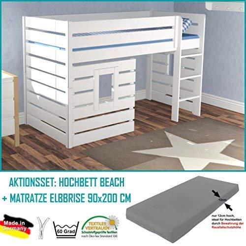 Dannenfelser Möbel® Hochbett Beach Kinderbett Haus, Hüttenbett, 3 Paneele, weiß, Höhe 139cm, Bett umbaubar + Matratze ELBBRISE 90x200cm (Wert 189€) #15287