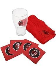 AC Milan - Ensemble verre à bière, serviette en éponge et sous-verres