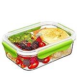 SELEWARE Frischhaltedosen Mikrowelle Lunchbox 100% bpa frei Luftdicht Auslaufsicher mit 3 fächern sicher für Gefrierschrank und Spülmaschine,Tritan (1,68 Liter, Rechteck, Grün)