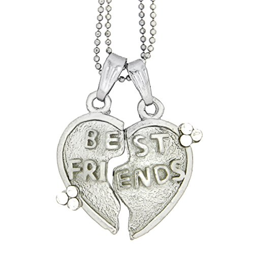 Kaizer Jewelry Double Heart Best Friends Rhodium Plated Heart Shaped Unisex Pendant Necklace