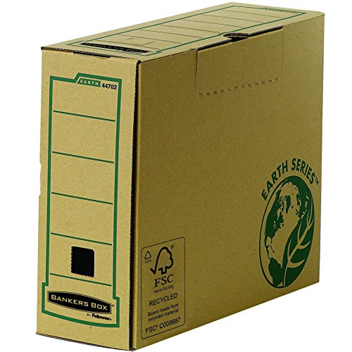 Bankers Box by Fellowes Earth Archiv-Ablagebox, A4, Einsteckdeckel zum Verschließen, aus Recycling- und FSC-zertifiziertem Papier, 20 Stück