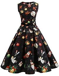 cc17b535607 OVERDOSE Frauen Vintage Ärmellos Weihnachten Party Kleid Santa Claus Print  A-Line Spitze Swing Kleid