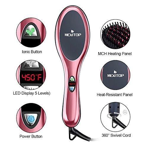 Mexitop spazzola elettrica lisciante con ionizzatore per capelli crespi e ricci, spazzola con testa massaggiante flessibile con setole in ceramica + 4 accessori inclusi (col. rosa specchiato)
