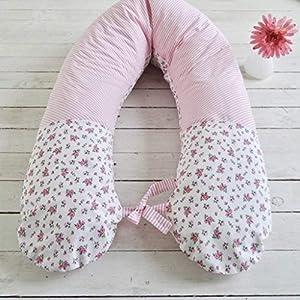 Stillkissen Lagerungskissen für Schwangerschaft und Stillzeit, rosa weiß, 180cm