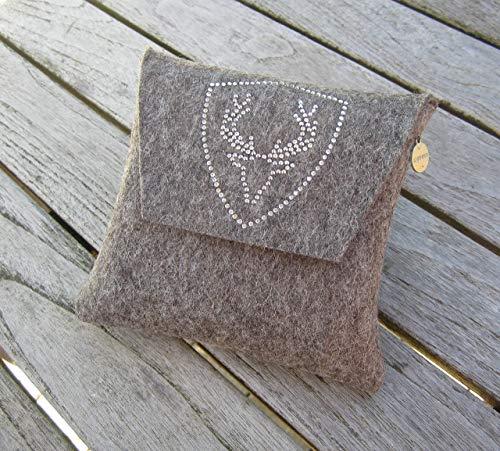 zigbaxx Dirndl-Bag PLATZHIRSCH/Gürteltasche, Tasche, Dirndl-Tasche aus Woll-Filz mit Hirsch aus Strass & Studs grau anthrazit-schwarz pink beige braun- Geschenk Frauen Jägerin Weihnachten Geburtstag
