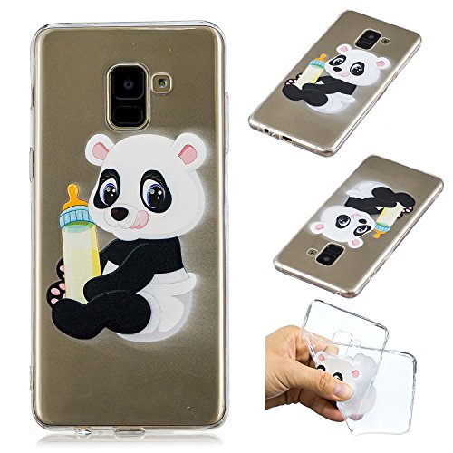 "CaseLover Galaxy A8 Plus 2018 Hülle, Transparent Schutzhülle Mode Handy Case Samsung Galaxy A8+ 2018 6,0"" Silikon Case, Weiche TPU Handyhülle Shockproof Handy Cover, Panda und Babyflasche"