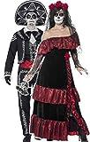 Couples FEMMES ET HOMMES JOUR DES MORTS longue squelette tête de mort Calavera déguisement halloween costume déguisement - Noir, Ladies UK 12-14 & Mens Extra Large