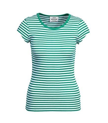 MADS NORGAARD Damen Shirt Trappy in Grün-Weiß Gestreift 2312 green