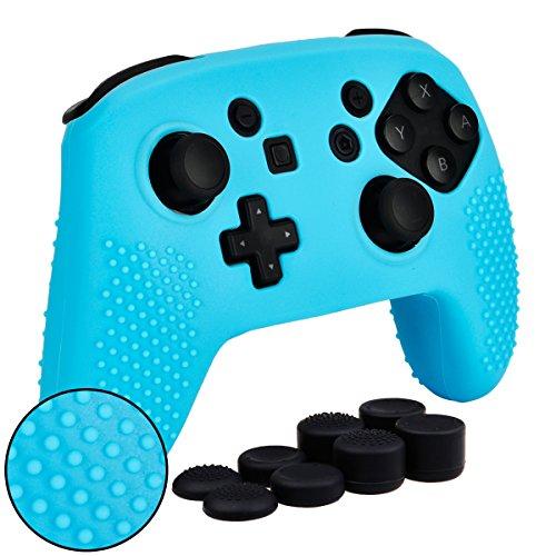 MXRC Schutzhülle für Nintendo Switch Pro Controller, Silikon, rutschfest, mit Daumengriffen, Blau, 8 Stück