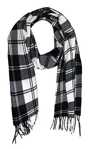Peach Couture Weiche und Warm Kaschmirschal-Imitat Einfarbig / Hahnentrittmuster / Kariert Muster Herren Damen Schal (Black/White Plaid) - White Plaid Schal