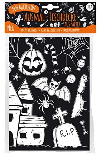 Mal Mich Bunt Halloween Tischdecke zum Ausmalen, Halloween Dekoration Kinder, Deko Halloween, Grusel...