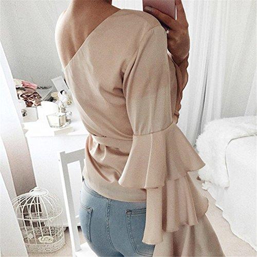 LnLyin Beige Damen Modisches Schulterhornhülse Normallack Langhülse Hemd Sweatshirt Top Shirt Bluse Damen Mädchen Frauen Abbildung 2