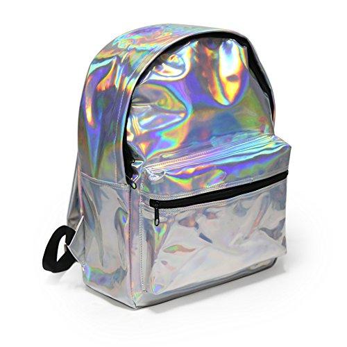 Zicac-Mdchen-Rucksack-Laser-Kunstlederrucksack-Schultasche-Handtasche-fr-Reisen-Photography-usw-Silber