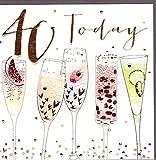 Belly Button Designs Paloma bezaubernde Glückwunschkarte zum runden 40. Geburtstag mit Prägung, Folie und Kristallen BB410
