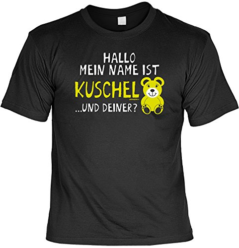 Spaß/Fun-Shirt mit witzigem Aufdruck: Hallo Mein Name ist Kuschelbär... und Deiner? - lustiges Geschenk Schwarz