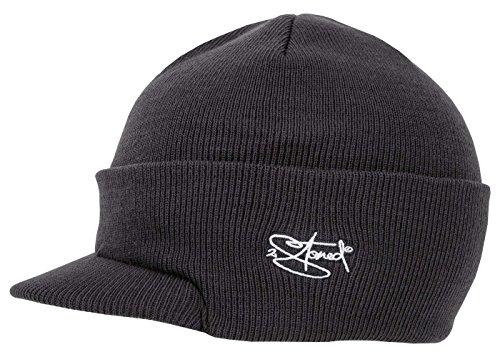 2Stoned Mütze mit Schirm Visor Beanie Cap Deluxe, One-Size Herren, Dark Grey Solid Visor Beanie-mütze