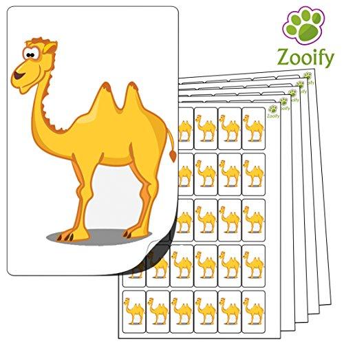 Kamel-bogen (480 x Aufkleber - Kamel (38 x 21 mm). Hochwertige selbstklebende Etiketten mit Tiermotiv von Zooify.)