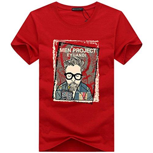 NiSeng Herren Casual T-Shirt Cartoon Bilder Druck Kurze Ärmel Rundhals T-Shirt Basic Slim Fit T-Shirt Rot
