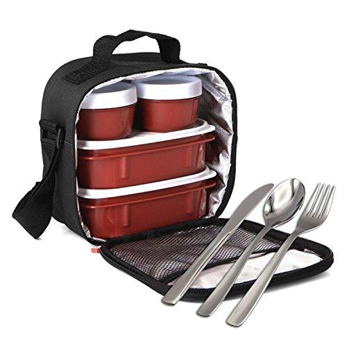 PracticFood, Kit Urban Food con Cubiertos en Acero Inoxidable 18/0 Niquel Free - Bolsa Térmica Porta Alimentos con 4 Tapers Herméticos. Negra
