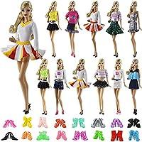 ZITA ELEMENT Vestiti Bambola 15 pezzi   5 Vestiti Abiti e 10 Scarpe per  Barbie Bambola 7a3a20a8101