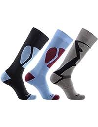 Laulax 3 Pairs Mens Cashmere-Like Long Hose Thermal Ski Socks, Size UK 7-11 / Europe 41-46, Gift Set, Black, Blue, Grey