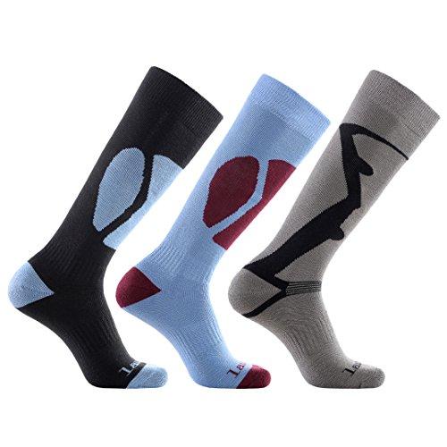 Laulax, 3 paia di calze termiche lunghe da sci, da uomo, in cashmere, taglia 41–46, colore: nero, blu, grigio