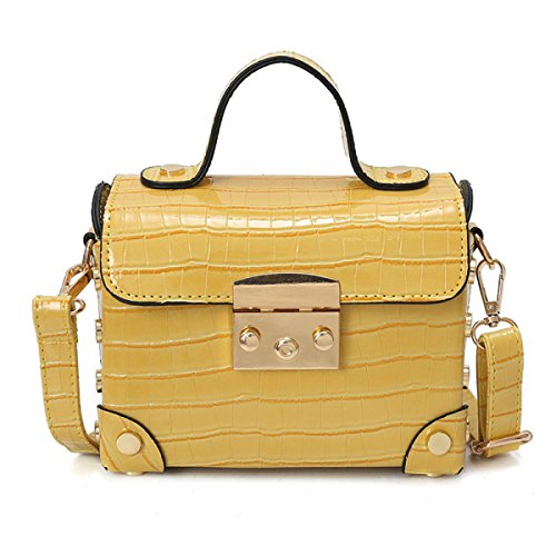 FZHLY Primavera E L'estate Europa E Stati Uniti Stati Pietra Piccola Piazza Borsa Lock Box Shoulder Bag,Pink LemonYellow