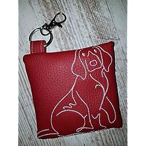 Kotbeutelspender für Hunde Beagle aus pflegeleichtem Kunstleder rot