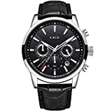 Mens Watches LIGE Fashion Waterproof Analog Quartz Watch Classic Black Leather Sports Strap