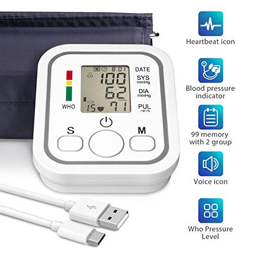 Digitales Oberarm Blutdruckmessgerät, Vollautomatische Blutdruck- und Pulsmessung am Oberarm mit Arrhythmie-Erkennung mit Großem Display und für zwei Nutzer (2x 99 speicherbare Messungen), Universalmanschette(22-32cm) und USB-Kabel