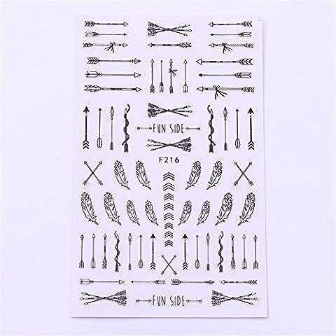 Coulorbuttons 1planche flèche plumes 3d à ongles autocollant adhésif stickers pour nail art stamping outils de décoration DIY