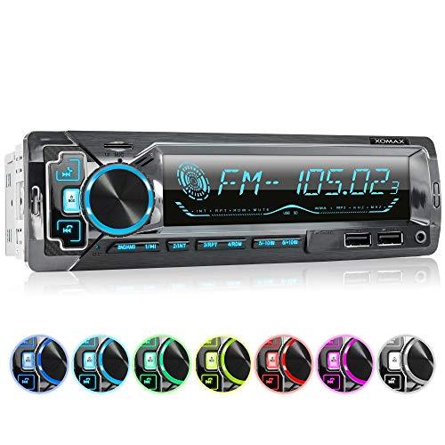 XOMAX XM-R270 Autoradio mit Bluetooth Freisprecheinrichtung I Smartphone Ladefunktion über 2. USB Anschluss I Carbon Optik I 7 LED Farben einstellbar I USB, SD, MP3, AUX I 1 DIN