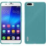Coque en Silicone pour Huawei Honor 6 Plus - transparent turquoise- Cover PhoneNatic + films de protection transparents