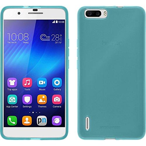 PhoneNatic Case für Huawei Honor 6 Plus Hülle Silikon türkis transparent Cover Honor 6 Plus Tasche + 2 Schutzfolien