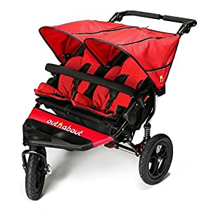 Out 'N' About Nipper Double V4 - Carnival Red Roma Compact lie-back stroller - suitable from newborn to 15 kgs Includes rain cover, insect net, travel bag Locked and swivel wheels, shopping basket, 12