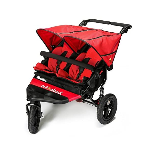 Out 'N' About Nipper Double V4 - Carnival Red  LATEST V4 MODEL Twin independant sun canopy's & peek-a-boo window & auto-locking fold NARROW 72cm WIDTH! All-terrain 3-Wheeler pushchair, suitable for use from Birth to 4 years (approx) Independent Multi-position adjustable backrest, including lie flat with 5-Point Safety Harness 1