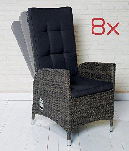 8 Polyrattan Gartensessel Luxus Rocking Chair Saint-Tropez grau Gartenstuhl Alu