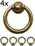 FUXXER® - Antik Schubladen Ring-Ösen Griffe | Guss-Eisen Messing Bronze Design | Für Schieber Schrank-Türen Truhen Vintage Landhaus Retro | 4er Set