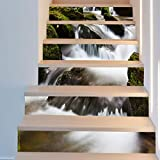YSFU Wandsticker Wasserfall 6 Stücke DIY 3D Treppenhaus Aufkleber Treppen Aufkleber Herbst Boden Wand Dekor Aufkleber Aufkleber Wohnzimmer Dekoration