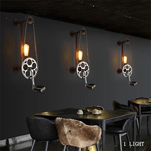 Vintage industrie éolienne américaine personnalité créative chambre simple, lampe tuyaux chevet allée murale