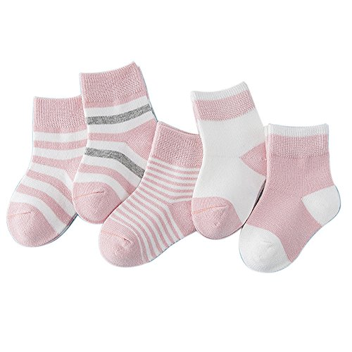 FQIAO Baby Sock 5 Pack 0-12 Months Cotton Stripe Unisex Breathable Autumn Winter