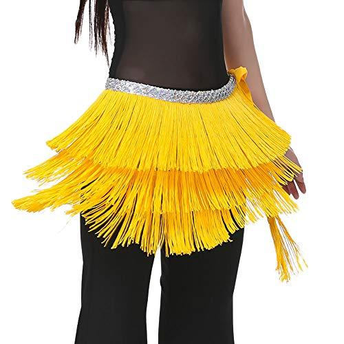 Tanzen Damen Karneval Bauchtanz Rock Schal Gürtel Oriental Dance Fransen Quaste Dance Kostüm Bauchtanz Hüfttuch Dreischichtige Quaste Taille Kette Gürtel Schal (Gelb) ()