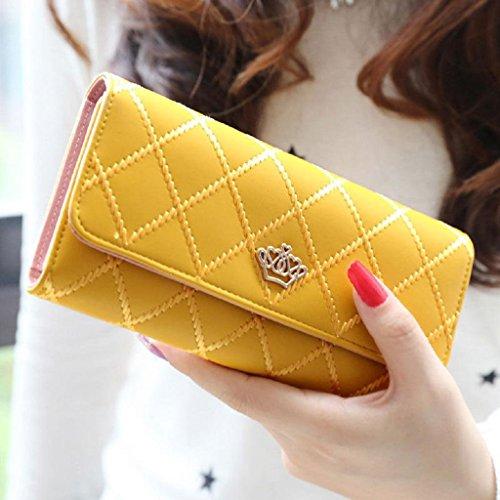 Ouneed® Damen groß Kapazität elegante Krone Luxus Wachs Leder Geldbörsen mit Reißverschluss-Tasche ()