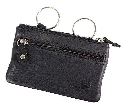 - Brown-leder-schlüsselring (Schlüsseletui Schlüsselmäppchen Schlüsseltasche Leder schwarz stonebear original)